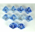 Dark Blue/white - Nebula Polyhedral 10 Dice Set