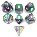 Metal Dice Set - Rainbow Colors (7 Dice)